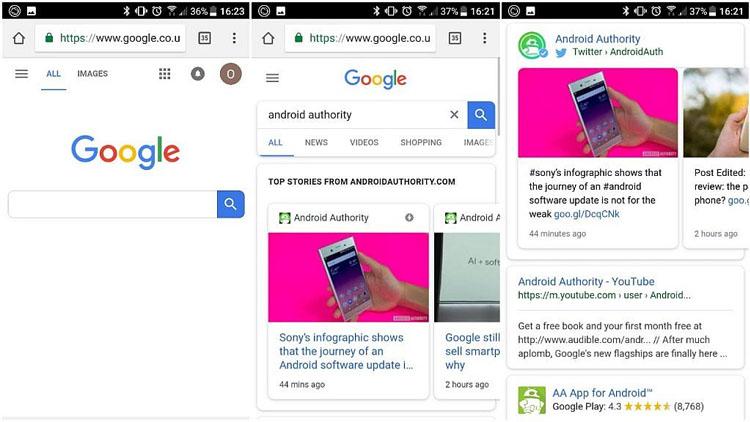 เน้นที่ความโค้ง! Google ออกแบบ<br>หน้าค้นหาบนสมาร์ทโฟนใหม่